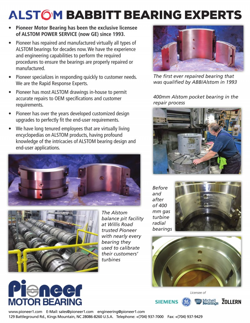 Alstom Babbitt bearing experts